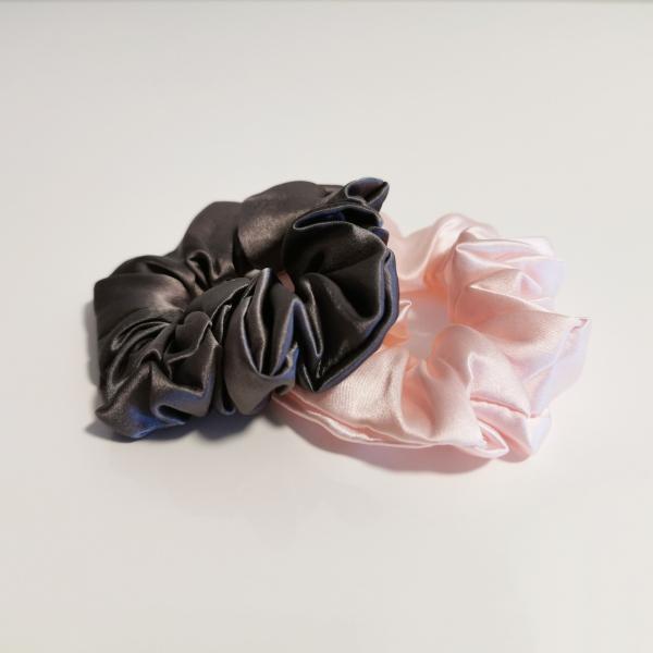 scrunchie seta grigio rosa